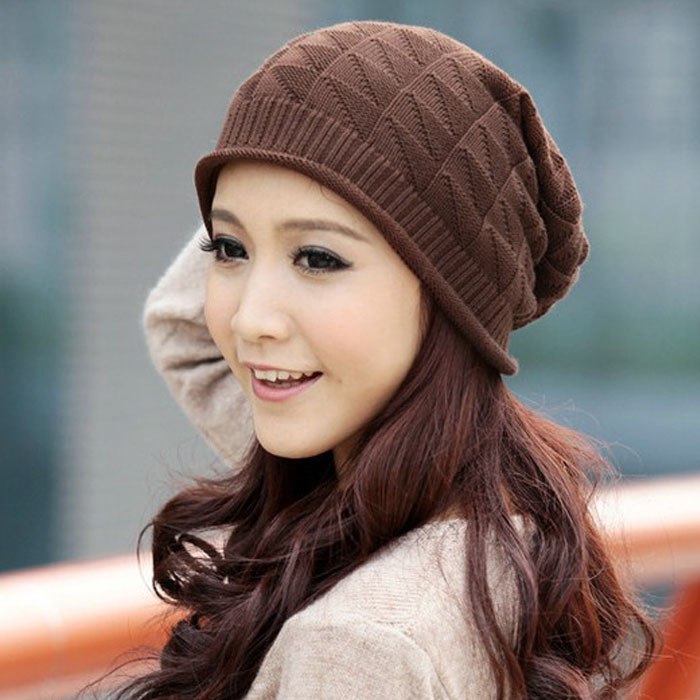 Jimshop 2016 High Quality 4 Colors Fashion Women Girls Hats In Triangle Diamond Winter Warm Wool Cap Tops Hats Selling(China (Mainland))
