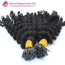 Brazilian I tip hair extensions Kinky curly 1gram/strand Keratin stick hair extensions100 gram per Pack I tip human hair