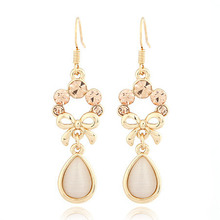 Trendy Fine Jewelry Bowknot Rhinestone Pendant Elegant Noble Woman Dangle Drop Earrings For Women Brincos Brand(China (Mainland))