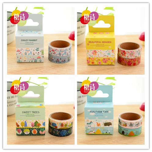 Гаджет  2 pcs/lot (1 bag) DIY New Cute Kawaii Japanese Washi Tape Flower Animal Sweet Tape For home Decoration Diary Free shipping 317 None Офисные и Школьные принадлежности