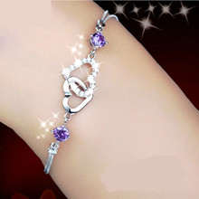 AAA 100% Sterling Silver 925 Jewelry Amethyst Bracelet Female Silver Heart Bracelet Christmas Gift Free Shipping!!(China (Mainland))