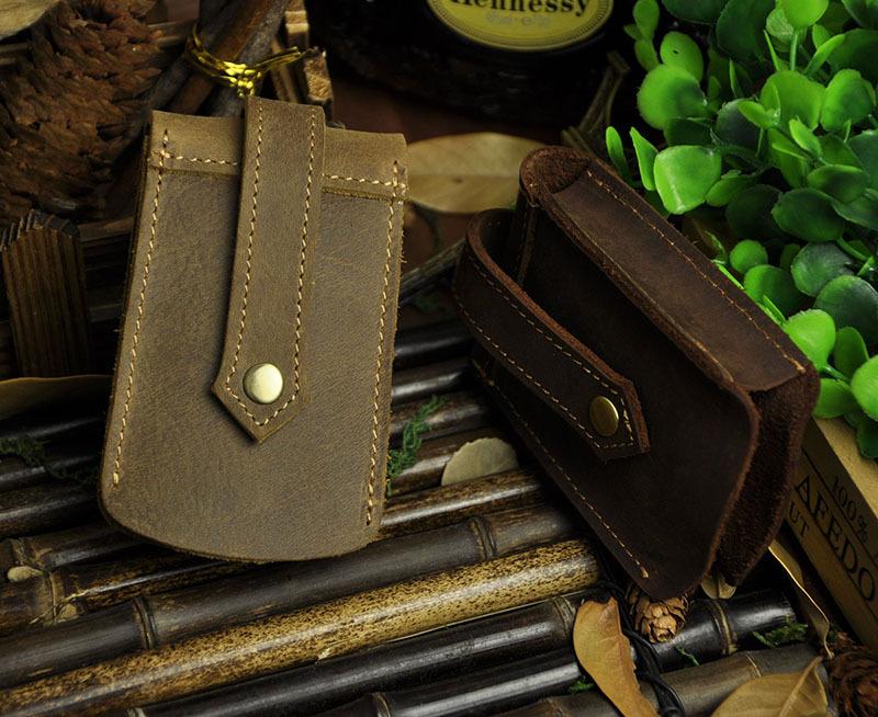 High Quality Vintage Fashion 100% Genuine Crazy Horse Cow Leather Men Men's Car Key Wallet Wallets Holder Case Waist Bag For Man(China (Mainland))