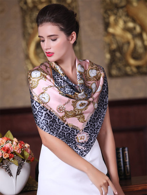 2015 new arrival fashion chinese silk satin scarf gift print female large 90*90CM 100% mulberry silk echarpe facecloth thicken(China (Mainland))