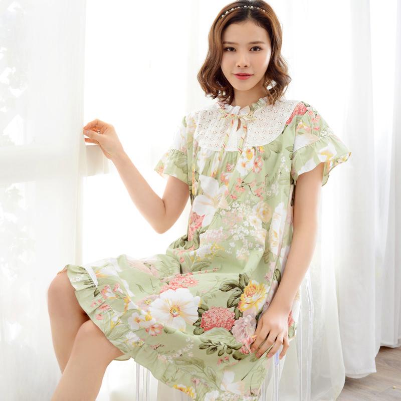2016 New Princess Floral Nightdress Female Short Sleeve Pure 100% Cotton Nightgowns Flower Knee-length Women Sleepshirts 9271606(China (Mainland))