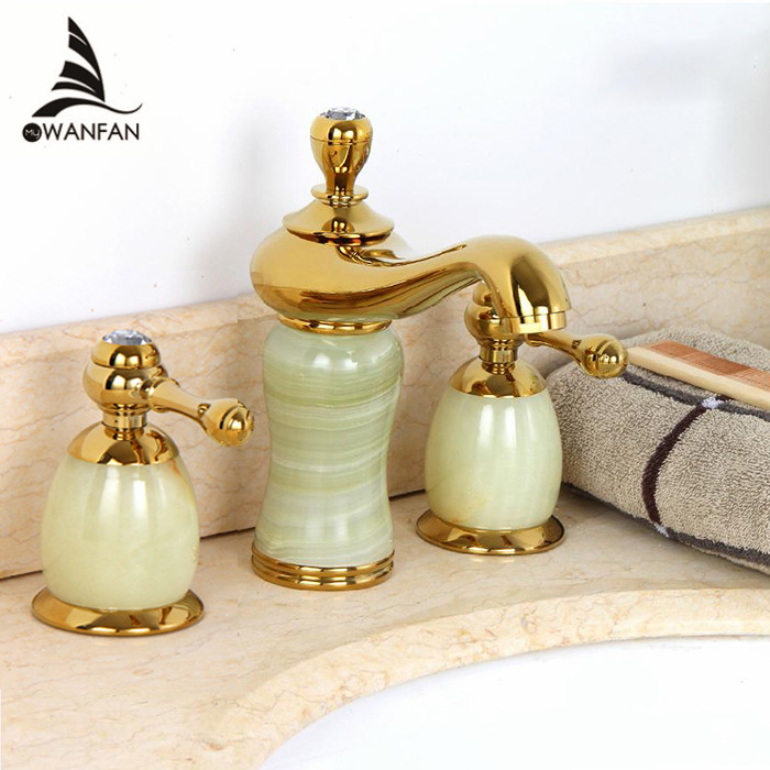 Free shipping new Luxury stone basin mixer faucet/ Copper gold Dual handle bathroom sink taps/Bathtub shower set E-71(China (Mainland))