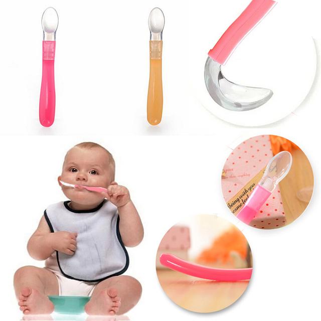 1 шт Ложка Кормление силикона высокого качества Детские Ложка Столовые приборы прекрасные ...