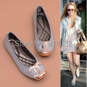 2015 Personalized C Metal buckle Pressure lines lattice square head soft surface Single shoes Lady Shallow mouth flat shoes35-41 - High Fashion international trade company store
