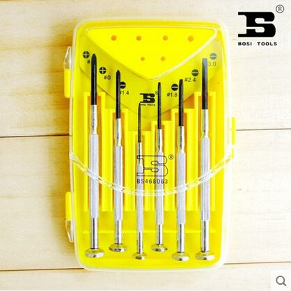 bosi tool six sets of chrome vanadium steel screwdriver batch watches miniature screwdriver mobile phone repair BS468063(China (Mainland))