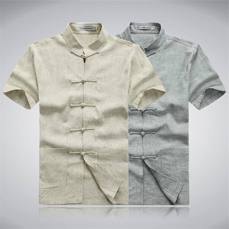 Free shipping 2025 fashion Men's short-sleeved Tang suit linen cotton suit summer dress Chinese tunic men linen shirt(China (Mainland))