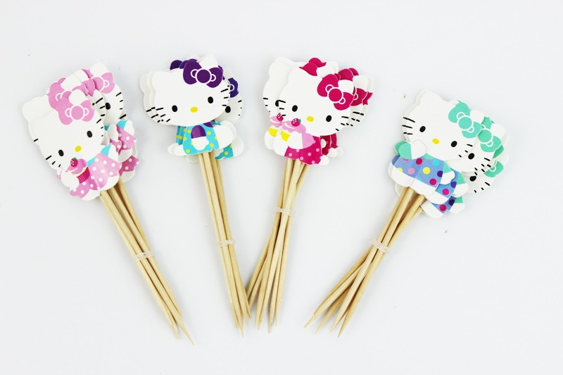 24pcs Lovely Cut Cat Hello Kitty Cup Cake Topper Pick Sweet Cat Kitty Party Supplies Picks Birthday