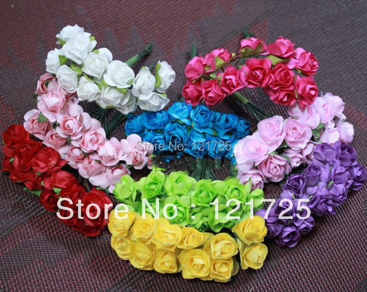 Paper Flowers 2016 Christmas candy wedding box Mini Rose Flower Hand Made Small Wedding Bouquet Scrapbooking(China (Mainland))