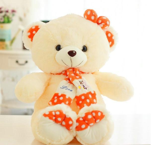 New Manufacturers selling 110 cm bear cute scarf Large teddy bear doll plush toys(China (Mainland))