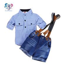 2016 Toddler Boys Summer Boutique Suspender Outfit Striped Short Pants Kids Designer Formal Clothing Boys Suit Shorts Sets