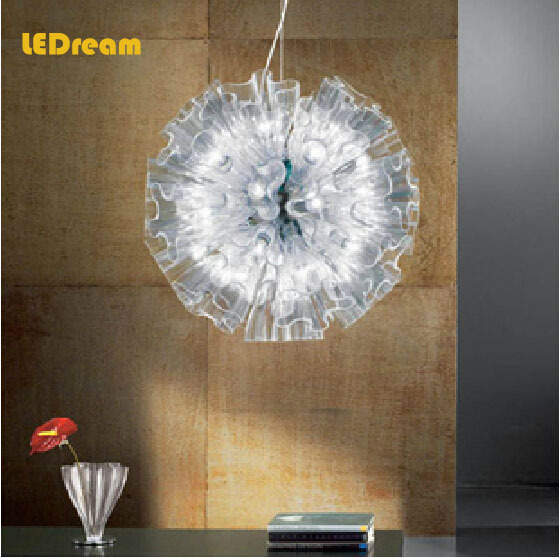 Contracted and contemporary restaurant 19 head iris study living room lamp transparent glass chandelier(China (Mainland))