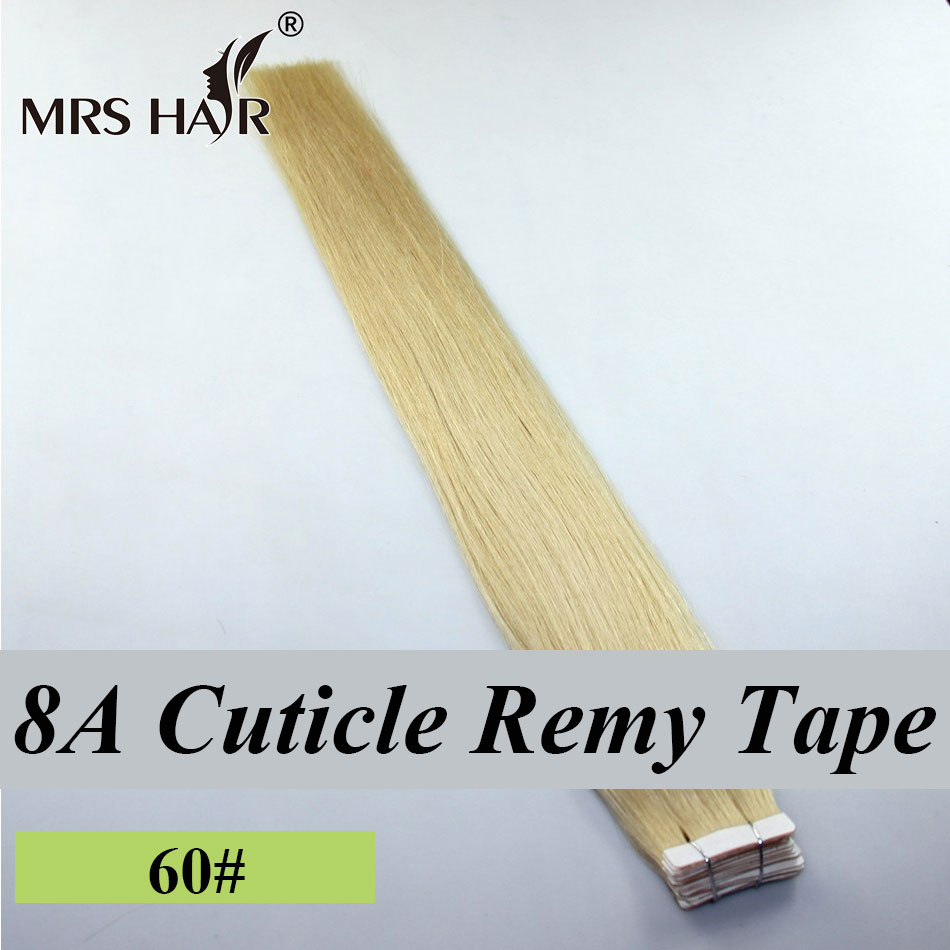 MrsHair 8A Cuticle Remy Tape Human Hair Extensions Platinum Blonde 2Pu Skin Weft 18 Inches - store