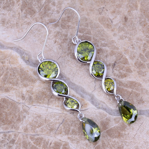 Гаджет  Noblest Green Peridot 925 Sterling Silver Overlay Drop Dangle Earrings For Women Free Shipping & Jewelry Bag S0207 None Ювелирные изделия и часы