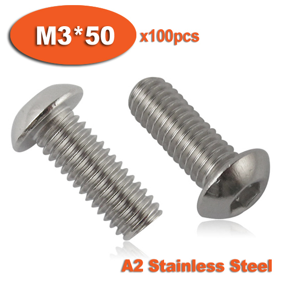 100pcs ISO7380 M3 x 50 A2 Stainless Steel Screw Hexagon Hex Socket Button Head Screws<br><br>Aliexpress