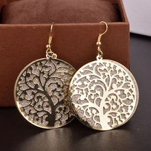 2015 Jewelry Round Life Tree Hollow Out Scrub Earrings for Women long Earrings Designs Fine Jewelry(China (Mainland))