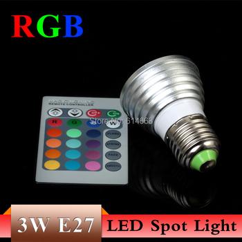1PCS 3W E27 RGB LED Light spot bulb 16 Color change +24key IR Remote Controller memory effect Freeshipping