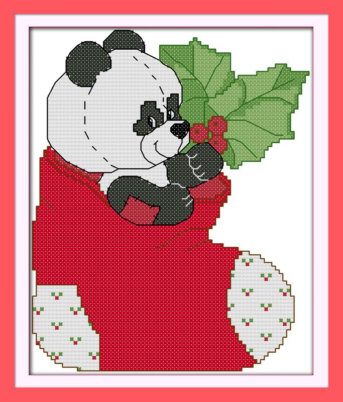 The panda in Christmas stockings Printed cross stitch Wall Decor Paintings Handmade Home Decoration Knitting Set DIY Embroidery(China (Mainland))