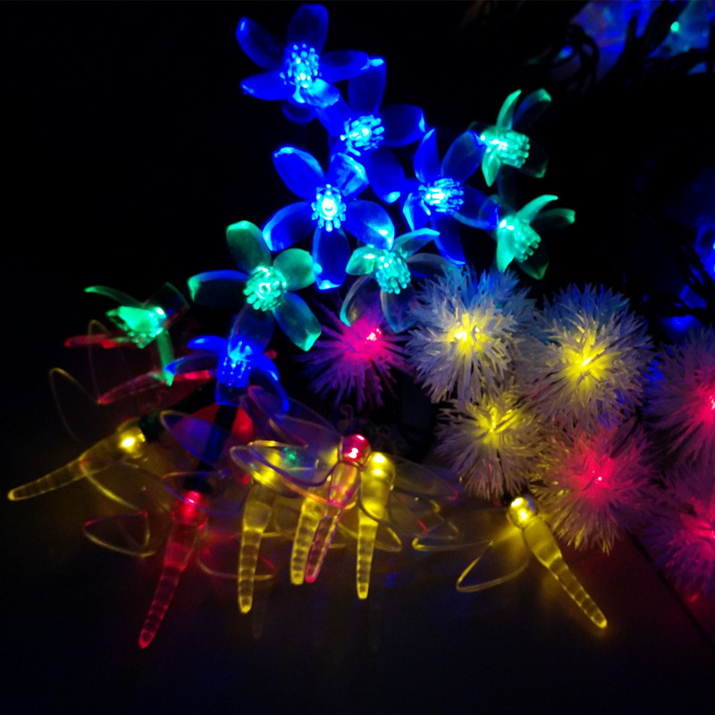 10M Solar Holiday Novelty Floral Flowers Cherry Pendants LED String Lights Wedding Party Garden Decoration Lamps Luce Solare 60L(China (Mainland))