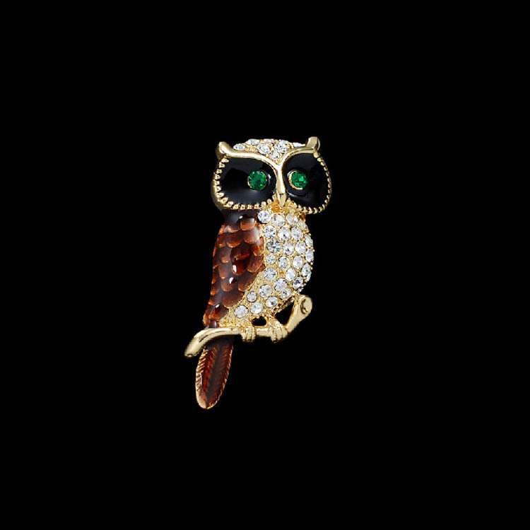 !Shiny Rhinestone Vintage Owl Brooch Decorative Garment Accessories Wedding Bridal Pin - OBN Jewelry store