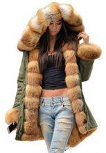Maomaokong2019 Chaqueta larga de invierno verde militar abrigo de mujer parka gruesa natural real piel de zorro Abrigo con capucha Ucrania(China)