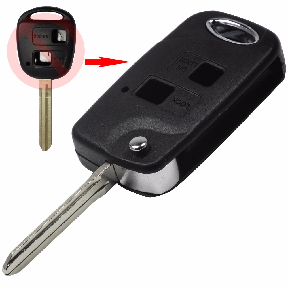 Folding Flip 2 Button Remote Key Shell For Toyota RAV4 Avalon Echo Prado Tarago Camry Corolla Tarago TOY43 Fob Case + Sticker(China (Mainland))
