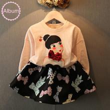 Cute girls print clothes set bowknot clothing set 2 pcs pullover + black skirt summer spring cotton costumes(China (Mainland))