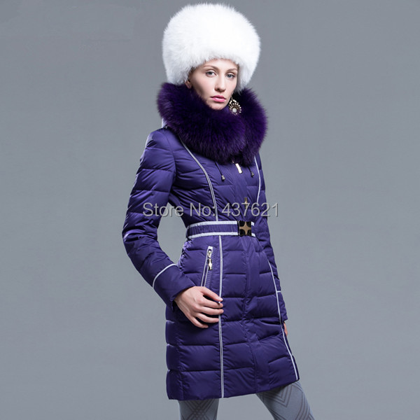 Fashion 2015 thickening large fox fur collar jacket lady's plus size medium-long coat - Happy Time Store 437621 store