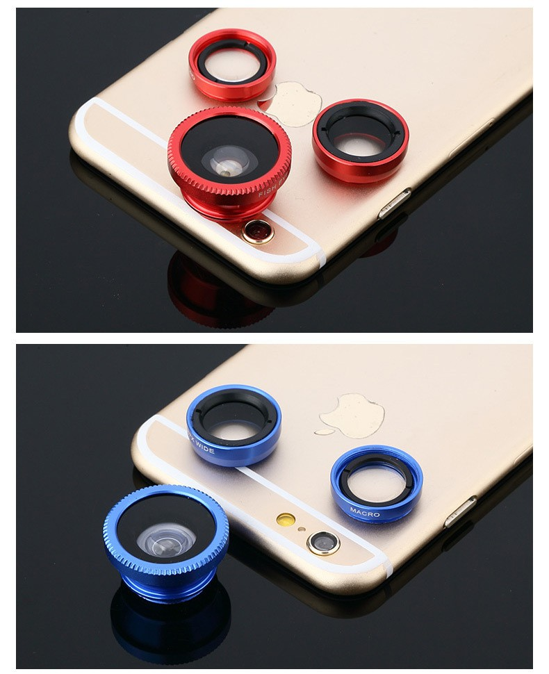 Fish Eye Lens , 3 in 1 Fish eye Universal Clip Camera Wide Angle Macro lens Fisheye Mobile Phone Accessories Lens For Iphone 6