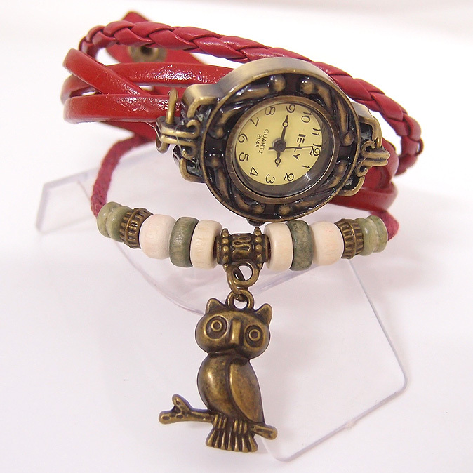 Genuine cow leather band wrist watch fashion vintage OWL tag quartz women men kow047 - BBQ'S Jewelry Co.,LTD store