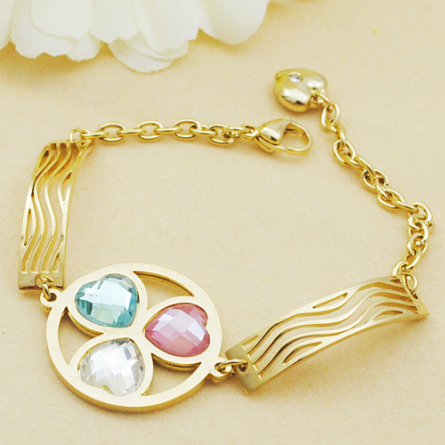 Punk Style Charms Round 316L Stainless Steel Girl Women Color Heart Bracelet Metal Link Chain Jewelry Gold Plated Lady - GS Fashion store