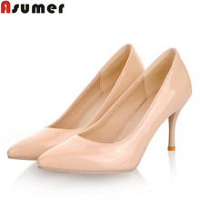 Five colors Plus Size 34-46 2016 New Fashion high heels women pumps thin heel classic white red beige sexy wedding shoes(China (Mainland))