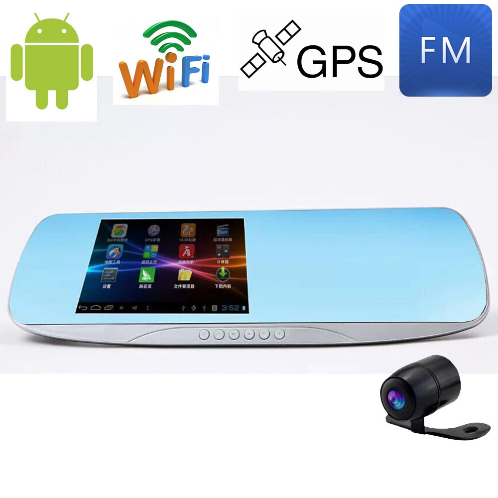 """5.0"""" Touch Android Quad-Core Rearview mirror Car DVR Bluetooth WiFi FM FHD 1080P Dual Lens dash camera parking video recorder(China (Mainland))"""