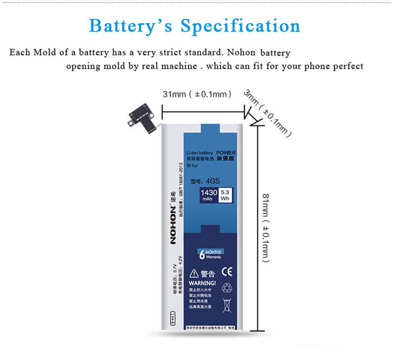 NOHON Battery For Apple iPhone 4S 4GS 1430mAh (8)