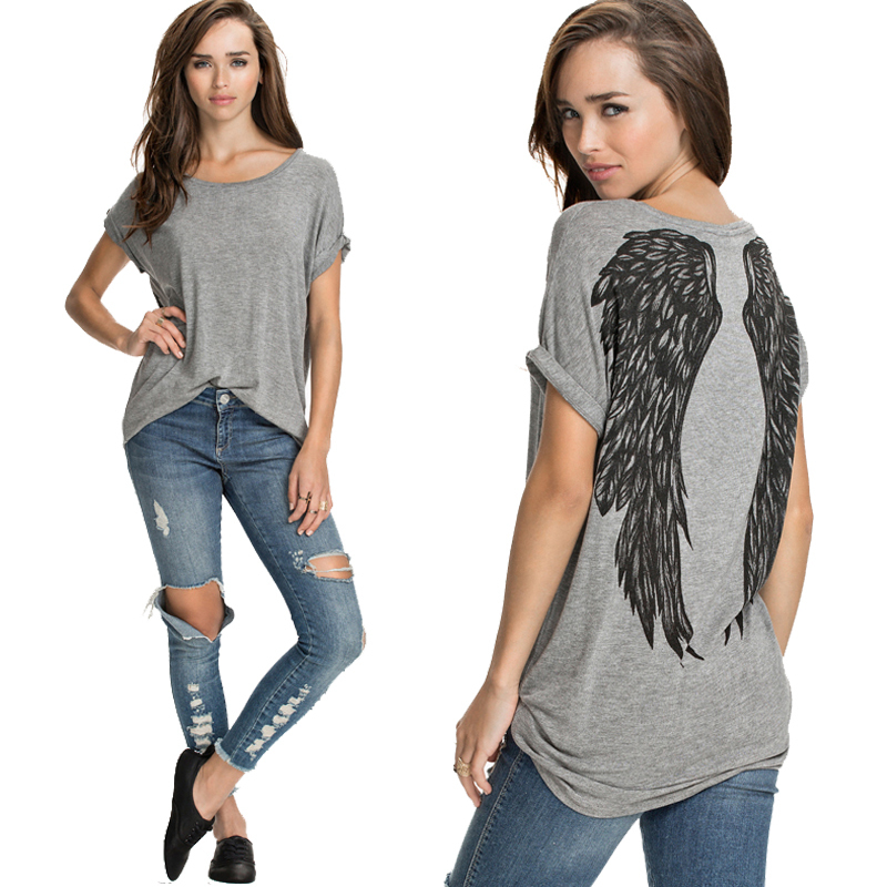 2015 Fashion Angel Wings Tropical Print Female Camisetas mulheres Short Sleeve Casual Loose Plus Size Tops Women T Shirt Women(China (Mainland))