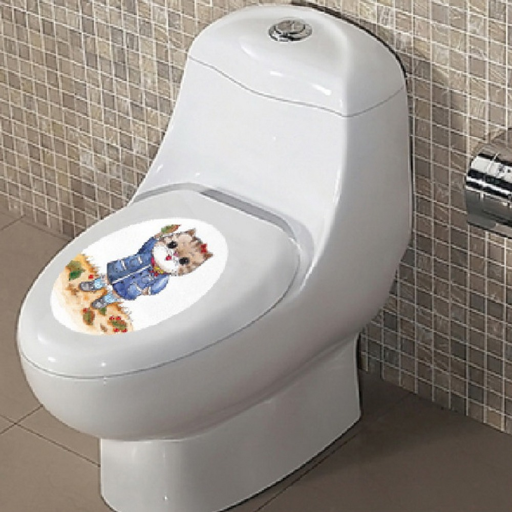 DIY Restroom Lovely Cat Toilet Lid Cover Stickers Adesivo De Parede Mural Vinyl Closestool Decals Home Docoration Removable(China (Mainland))