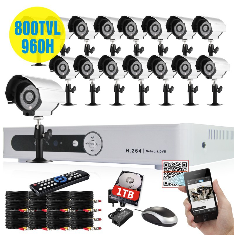 video Surveillance 16channel CCTV DVR NVR HVR recorder 16pcs 800tvl security camera system with 1TB HDD+Free shpping!(China (Mainland))