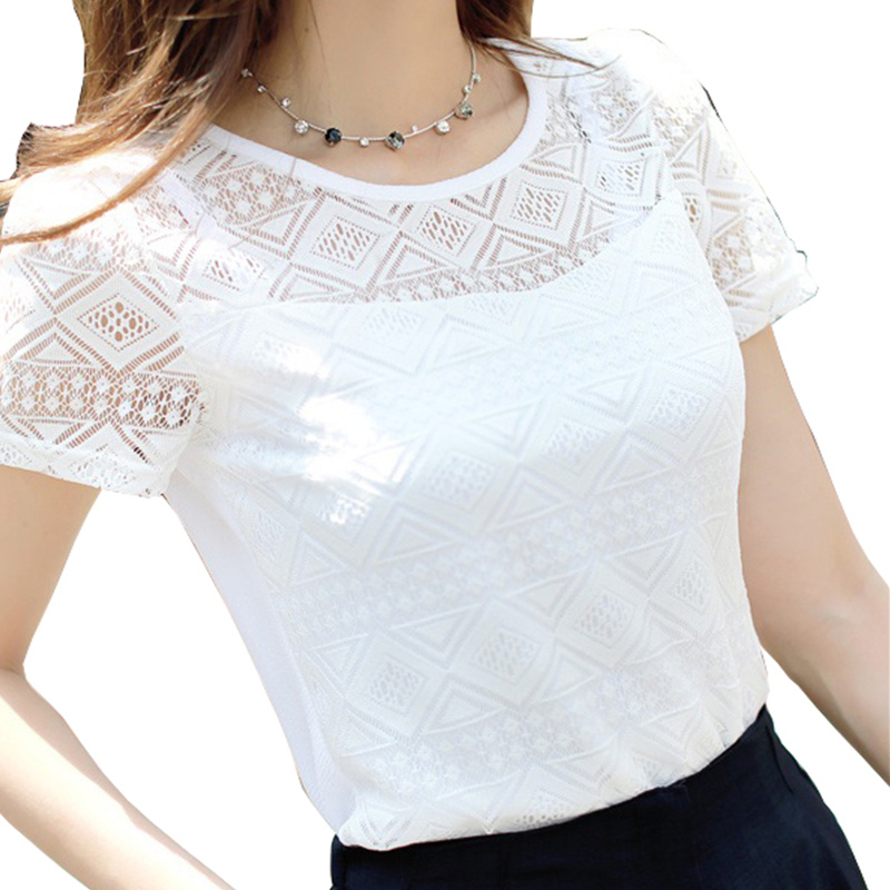 The new printed chiffon shirt lace female korean 2016 for White floral shirt womens