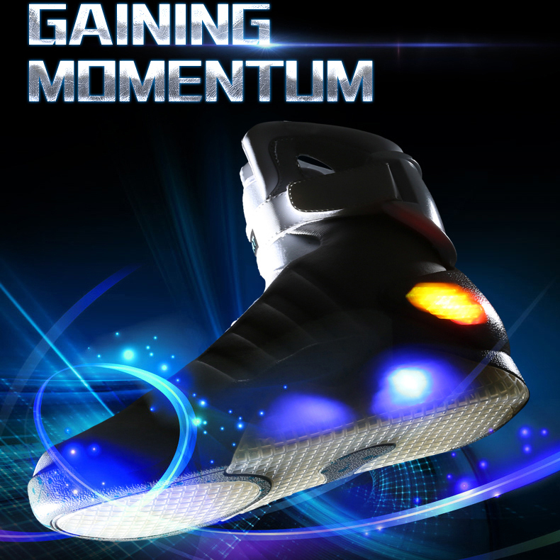 Free Shipping Basketball Shoes Back To The Future 2 Fly Shoes Air Mags Glow In The Dark Light Shoes(China (Mainland))