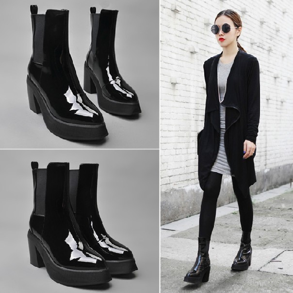BIG SIZE 34-42 autumn and winter boots female thick heel boots for women shoes high-heeled boots round toe martin boots618-6