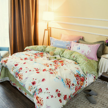 Beautiful family floral flowers duvet cover set bedlinens high quality thick sanding cotton Queen/King size bedding sheets(China (Mainland))