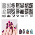 1Pcs Nail Gel Polish Stamping Plates Flower Lace Stainless Steel Stemping Plate Nails Stencils Manicure Template