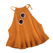 New 2016 Fashion Casual Sexy Spring Summer Autumn Women's Short Cropped Knitted Ruffles Tank Tops Ladies Knit Camisole WY570(China (Mainland))
