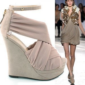 2011 NEW, ORIGINAL, SEXY, cross band, silk surface, super high ladies wedge sandals (best gift for ladies)