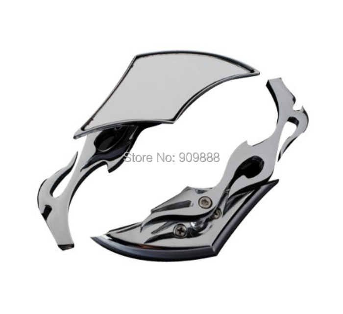 Motorcycle Chrome Flame Blade Side Mirrors Harley Sportster Dyna Softail Custom Fat Boy Honda Kawasaki Vulcan Yamaha Suzuki - CareforCar Accessories LTD store