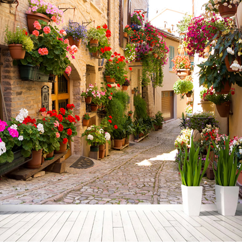 european street scenery mural wallpaper flower full wall