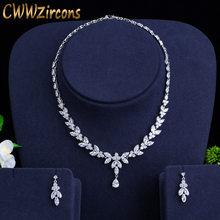 CWWZircons מבריק מעוקב זירקון המפלגה תלבושות שרשרת עגילי חתונה כלה תכשיטי סטי שמלת אביזרי T326(China)