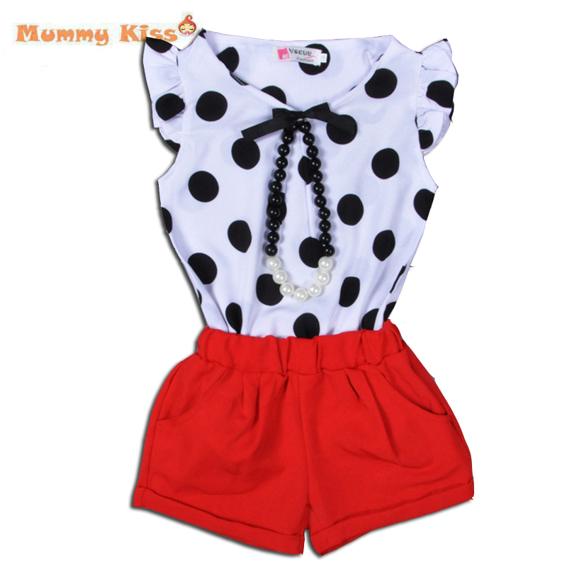 Summer Style Kids Clothes Chiffon Pokal Dot Blouse+Red Short Pants Baby Girls Clothes 2016 Pearl Necklace Kids Clothes Sets c50<br><br>Aliexpress